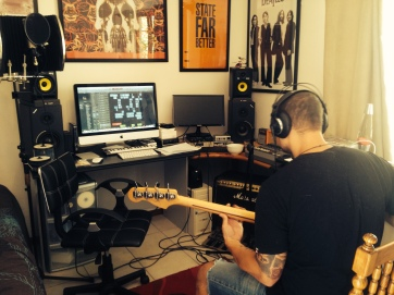 matt tracking bass at gflat studios