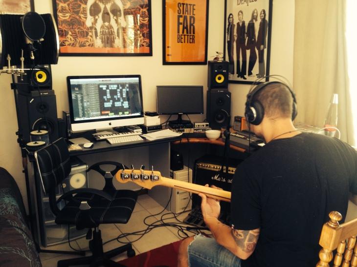 matt tracking bass at gflat studios