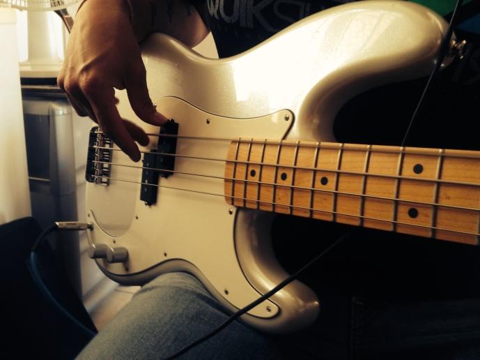 laying down bass at gflat studios