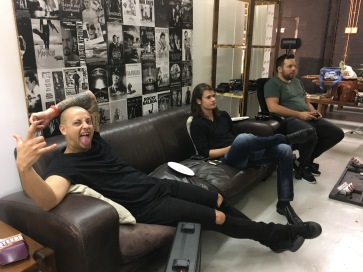 set life - chilling out between takes