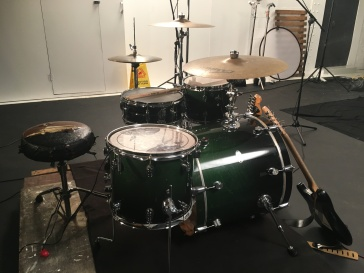 """setting up drums for """"sail away"""" shoot"""